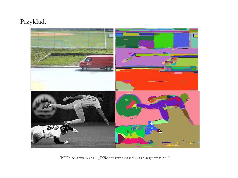 "Przykład. [P.F.Felzenszwalb et al. ""Efficient graph-based image segmentation ]"